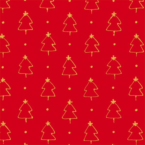 Weihnachtswald auf rotem Papier